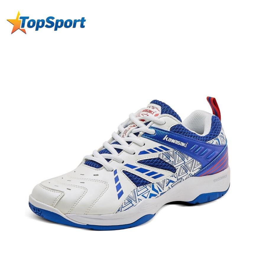 Giày cầu lông nam nữ Kawasaki K080 màu trắng xanh, mẫu mới, phom giày chắc chắn, ôm chân, hàng chính hãng, đủ size