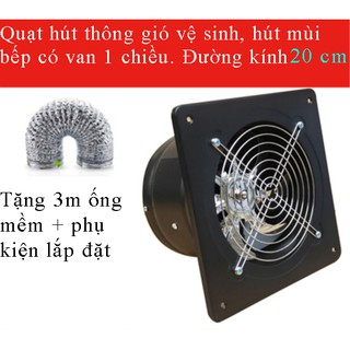 Quạt thông gió hút mùi bếp, hút mùi vệ sinh mạnh mẽ đường kính D200mm
