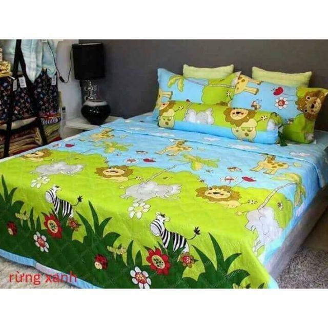 Bộ chăn hè ga gối, Drap giường 5 món mẫu RỪNG