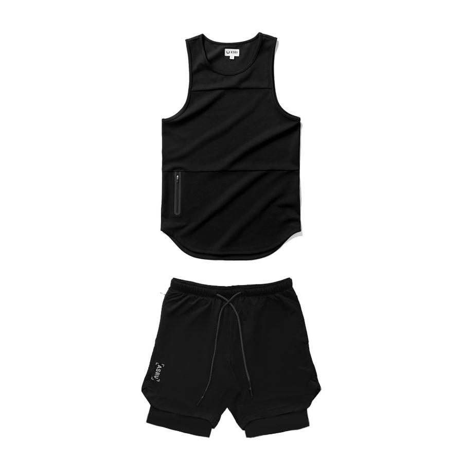 Bộ quần áo tập gym nam ÂSRV kết hợp quần tập gym nam 2 lớp và áo 3 lỗ thun lạnh