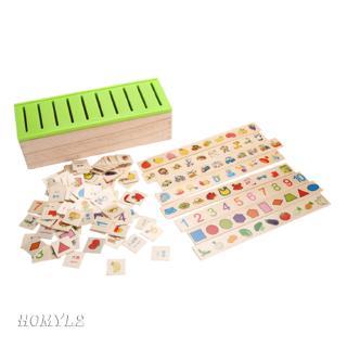 Wooden Classification Toy Box Montessori Kids Pattern Matching Classify Toy
