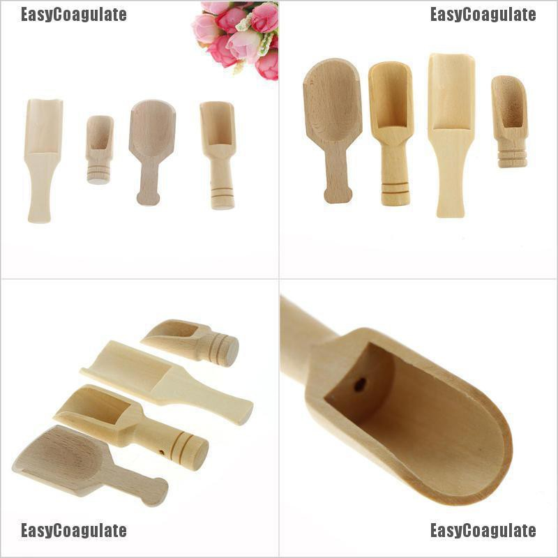 EasyCoagulate Wooden Scoops Salt Powder Spoon Bath Shower Tool Bath Salts Laundry Detergent