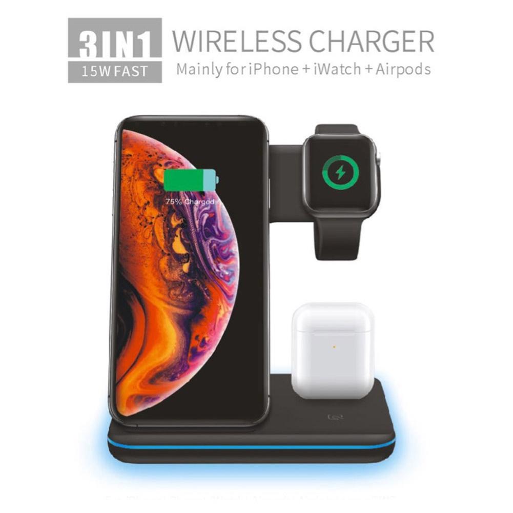 Đế Sạc Nhanh Không Dây 3 Trong 1 15w Cho Iphone 11 / Iwatch 4 / 3