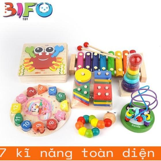Combo 7 đồ chơi giáo dục bằng gỗ phát triển trí tuệ, an toàn cho bé