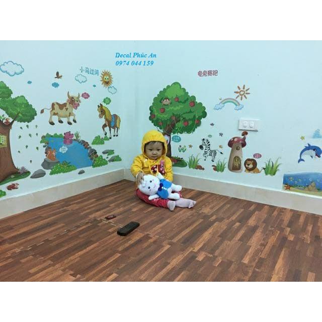 Decal dán tường bộ kết hợp khu rừng vui chơi của bé