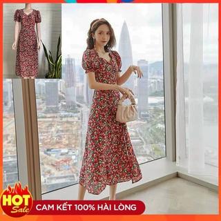 [Ảnh Thật] Đầm Xòe Lụa Đẹp Tay Phồng Cao Cấp Váy Hoa Dài Qua Gối Dự Tiệc, Công Sở, Đám Cưới, Đi Biển Xẻ Tà Một Bên thumbnail