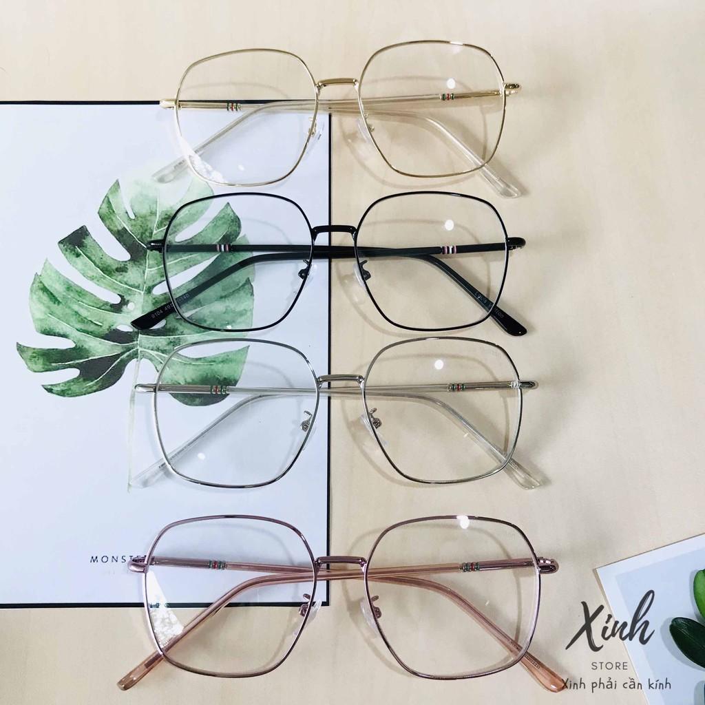 [ẢNH THẬT] Mắt kính giả cận gọng kim loại đa giác form bầu mẫu mới 2020