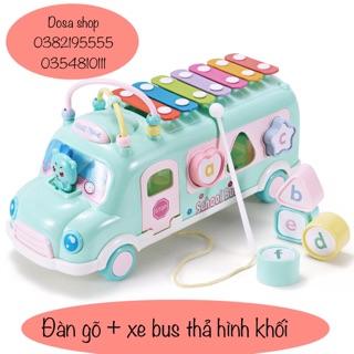 Đồ chơi ô tô kéo đàn gõ – xe bus thả hình khối kèm đàn gõ
