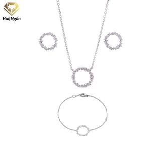 Combo dây chuyền lắc tay và khuyên tai bạc Ý 925 Huệ Ngân - Huyền thoại biển xanh PP1528-RYE140938-RYB140125