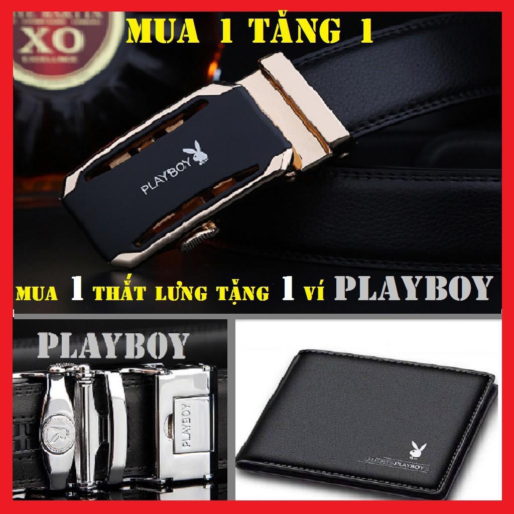 Thắt Lưng Nam Da Sịn SiêU Cấp T7853 (khóa vàng + bạc)+ Ví Nam Da Bò Sịn PLAYBOY- Dây Nịt Nam Chính Hãng- tặng ví Playboy