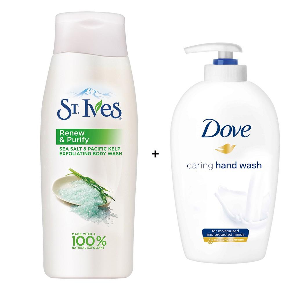 Bộ quà tặng 1 sữa tắm St.ives muối biển 709ml + 1 xà bông rửa tay Dove mềm mịn tự nhiên 250ml - 3368989 , 1222708460 , 322_1222708460 , 154000 , Bo-qua-tang-1-sua-tam-St.ives-muoi-bien-709ml-1-xa-bong-rua-tay-Dove-mem-min-tu-nhien-250ml-322_1222708460 , shopee.vn , Bộ quà tặng 1 sữa tắm St.ives muối biển 709ml + 1 xà bông rửa tay Dove mềm mịn t