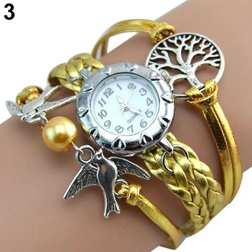 Đồng hồ dây da trang trí kiểu dáng cổ điển cho nữ
