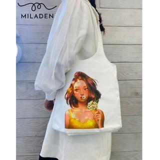 Túi Tote Vải Canvas Girl Tóc Ngắn Cao Cấp, Hộp Fullbox, Vải Dày, Có Lớp Lót, Khóa Kéo và Ngăn Nhỏ Miladen thumbnail