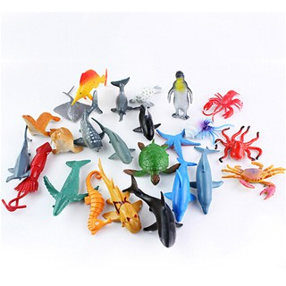 24pcs Sea Life Model Pool Fish Toy Educational Marine Animals Kids Figure Gift