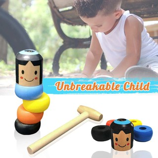 Child Magic Toy Immortal Daruma Unbreakable Wooden Man Close-up Street Stage Magic Props Fun Toy