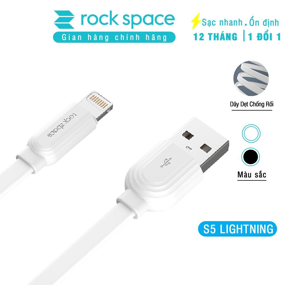 Cáp sạc cho iPhone, Samsung Rockspace S5 chuẩn lightning,micro, dây dẹt chống dối, hàng chính hãng bảo hành 12 tháng