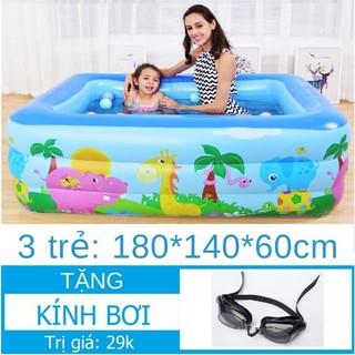 Bể bơi Chữ nhật 3 tầng 180x140xCao60cm Tặng Kính bơi Hồ bơi Phao bơi Nhà banh Bể bơi