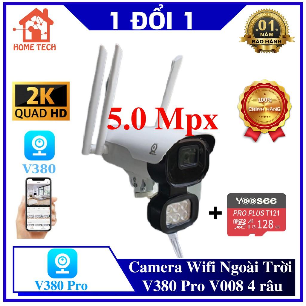 [KÈM THẺ NHỚ] Camera Wifi Ngoài Trời V380 Pro V008 Ngoài Trời 5Mpx 4K, chống nước, nhìn đêm có màu, báo động có còi