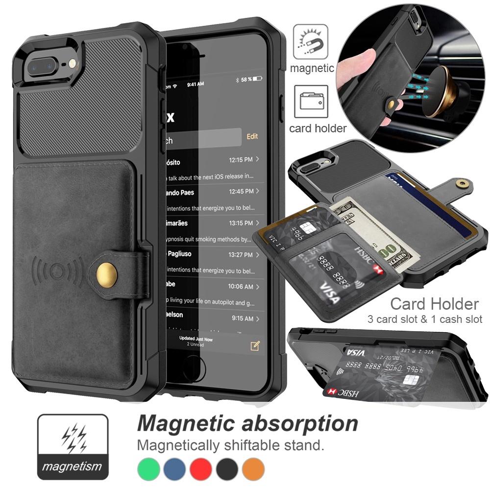 Phone 6 6s 7 8 X XS XR Max 11 11 Pro nắp gập thẻ khe chống sốc điện thoại di động