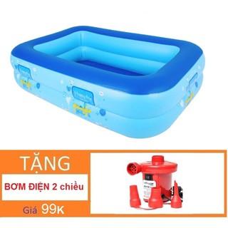 [MỚI_TMARKVN]Bể bơi chữ nhật loại 2 đáy Tặng bơm điện (120 x 85 x Cao35cm) Nhà bóng Phao bơi