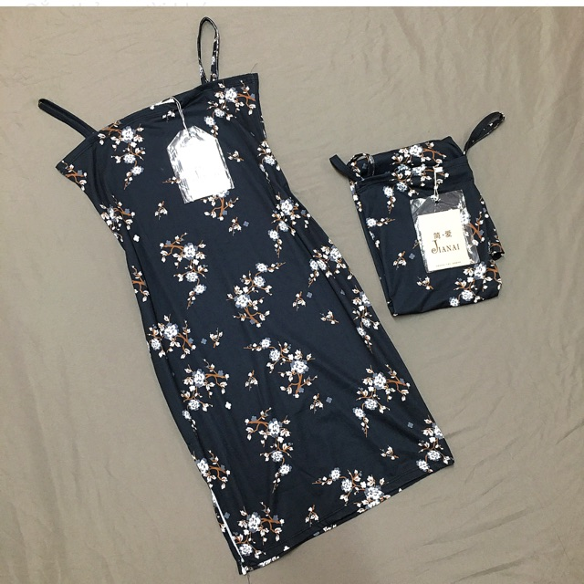 Đầm body hoa 2 dây Quảng Châu