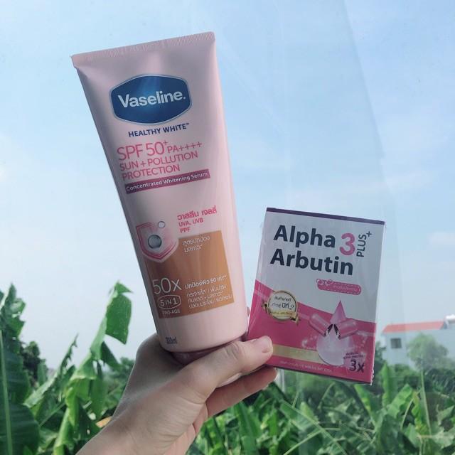 Combo dưỡng da Vaseline 50X 320ml và viên kích trắng Alpha Arbutin