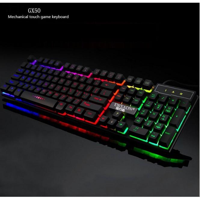 Bàn phím giả cơ chuyên Game Eweadn GX-50 led 7 màu (Đen)
