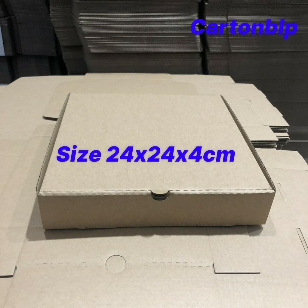 Hộp carton đựng bánh pizza size 24x24x4cm màu nâu
