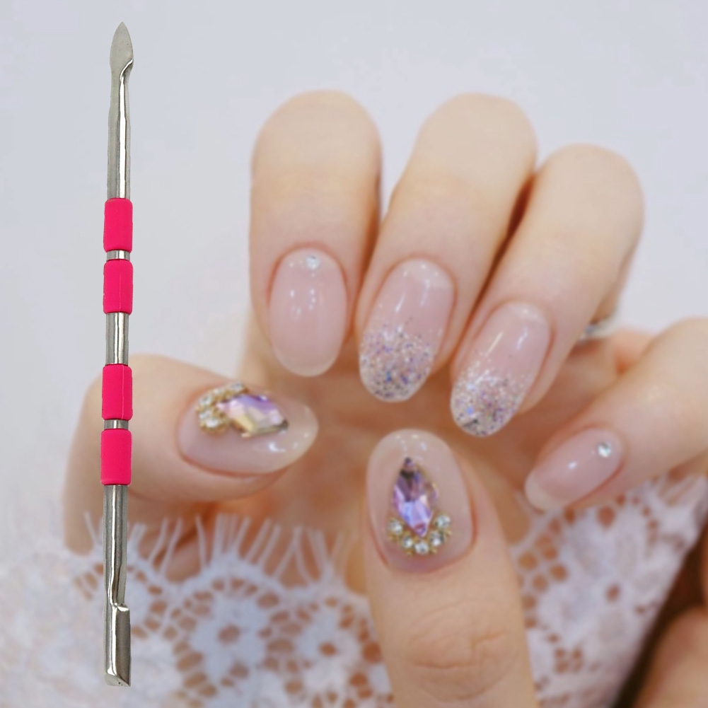 Portable Nail Cleaner Double End Stainless Steel Dirt Remove Manicure Home Cuticle Pusher