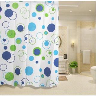 Rèm phòng tắm Rèm cửa sổ họa tiết vòng tròn xanh 180cm x 180cm Loại 1 ( Kèm Ảnh Thật ) thumbnail