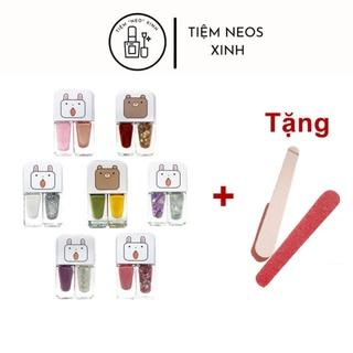 Sơn Móng Tay 2 Trong 1 [Màu 15-28] Bóng Kim Tuyến -Màu Hot Đỏ, Bóng, Kim Tuyến -Set 2 Lọ -Bò Sữa -Nails -Neosxinh thumbnail