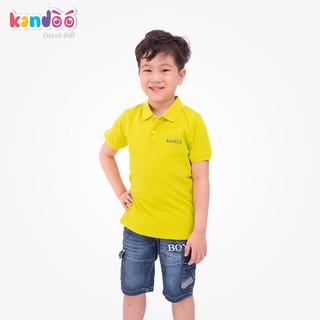Áo polo ngắn tay bé trai KANDOO màu vàng mơ, thoải mái hoạt động, 100% cotton cao cấp mềm mịn, thoáng mát - DBPS1724