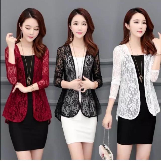 Áo khoác ren nhẹ mặc ngoài váy không tay; váy 2 dây; áo 2 dây. Phong cách Hàn trẻ trung, sang trọng.