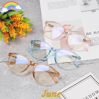 JUNE Fashion Computer Glasses Resin Eyeglasses Vision Care Flexible Portable Anti Blue Rays Myopia Prescription Retro Flat Lens/Multicolor
