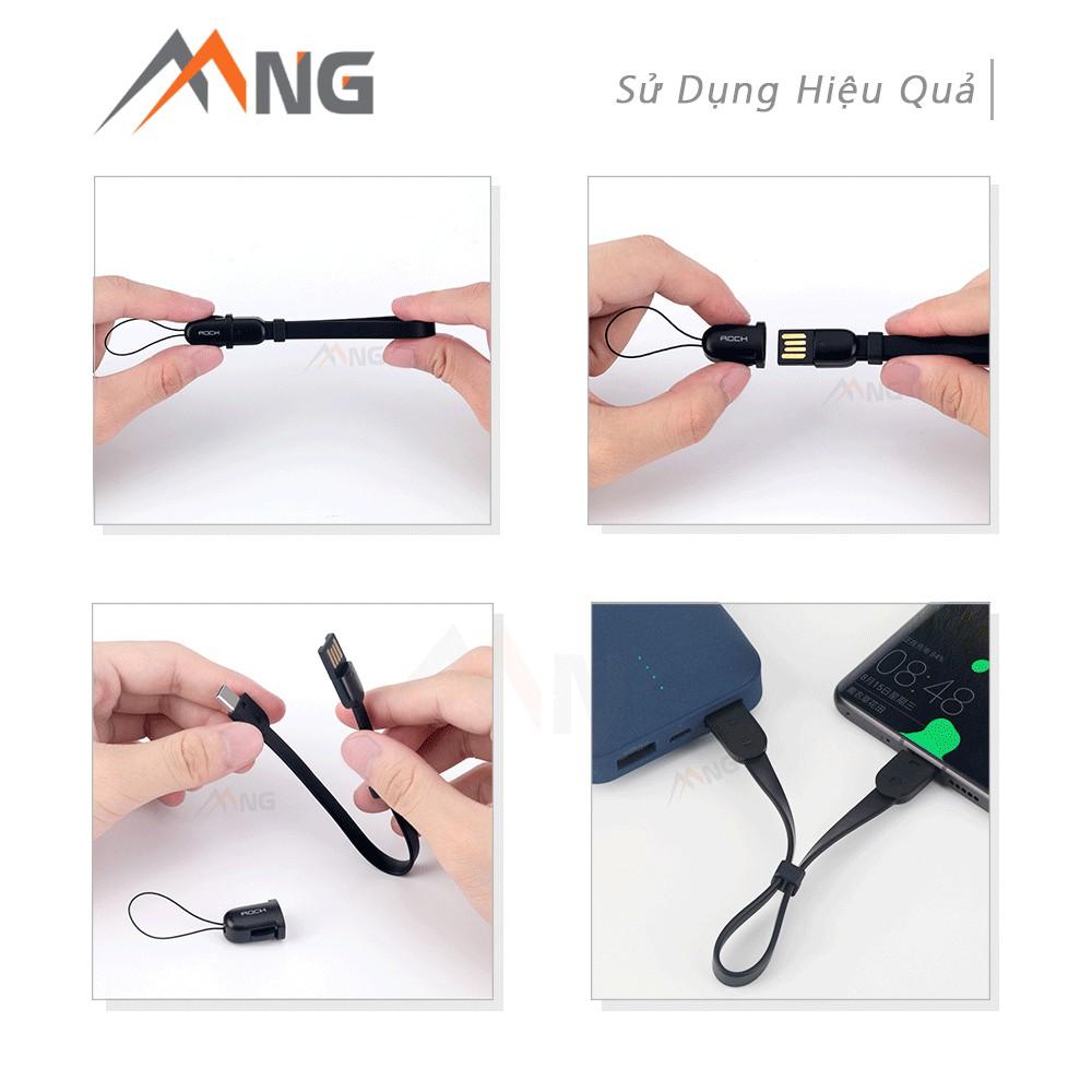 Cáp Rock space chuẩn lightning dành cho iphone / TypeC dành cho Samsung kiêm móc chìa khóa tiện dụng dài 21 cm