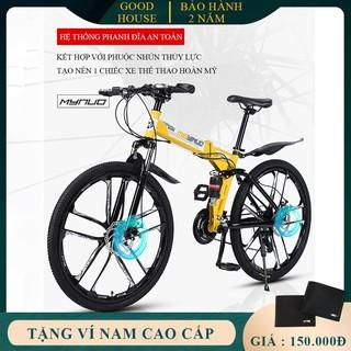 Xe đạp thể thao khung thép siêu bền gấp gọn phanh đĩa cơ học 7 cấp độ kết hợp giảm sóc thủy lực. Bảo hành 2 năm. thumbnail