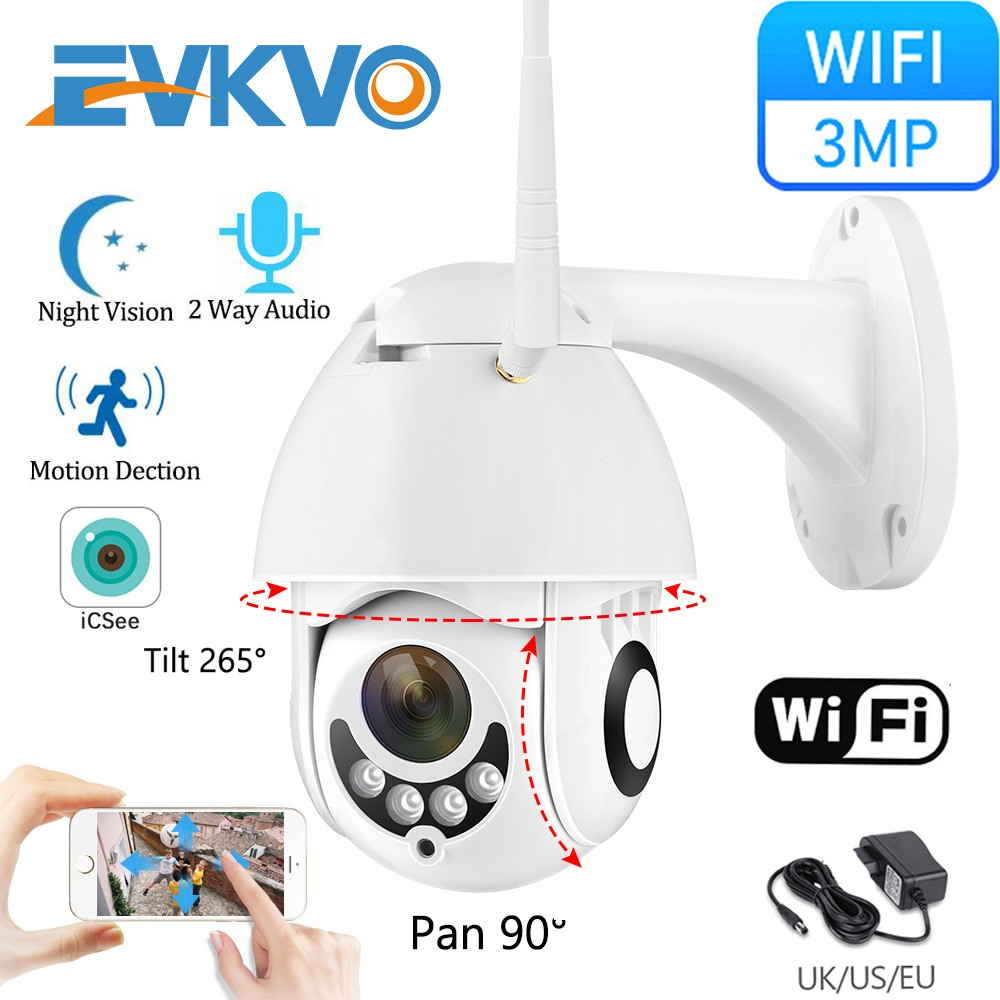 EVKVO - ICSEE XMeye APP HD 3MP Rotate Outdoor Waterproof Wireless PTZ IP Camera CCTV Infrared Night Vision Speed Dome WIFI Home Security Surveillance Camera Two Way Audio Motion Detection Alarm ONVIF NVR H.265 Video