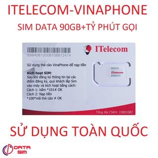 SIM ITELECOM VINAPHONE TỶ PHÚT GỌI 30 PHÚT GỌI NGOẠI MẠNG 60GB 0Đ
