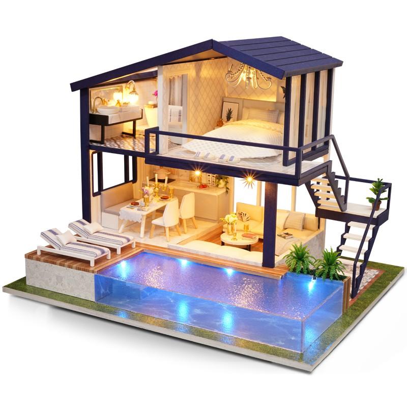 Mô hình gỗ nhà búp bê Time Apartment (mica+keo+ cót nhạc)