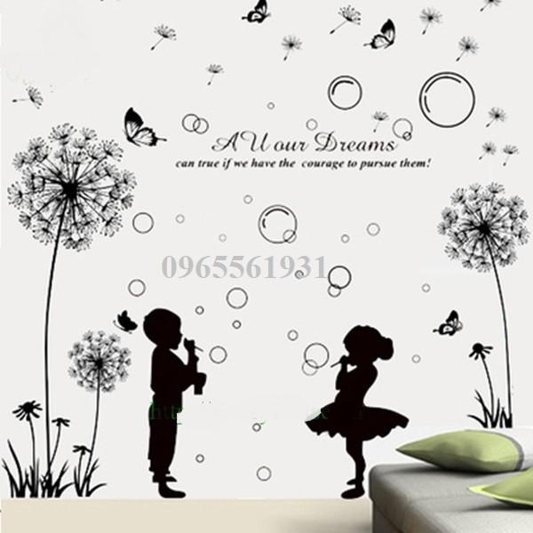 Decal dán tường combo hoa bồ công anh va trẻ thơ