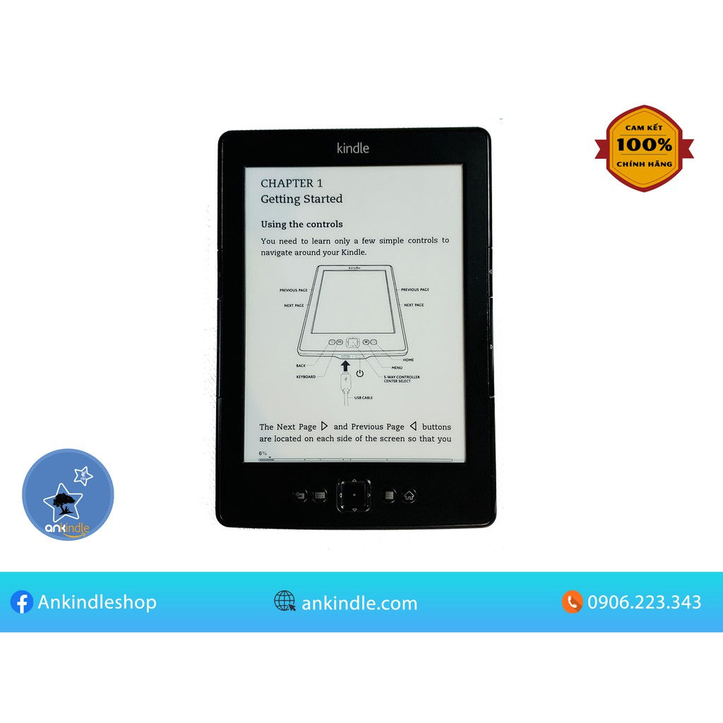 Máy đọc sách Amazon Kindle Basic 5th - không đèn nền, có nút lật trang