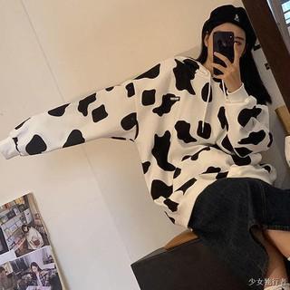 Áo Hoodie Vải Cotton Cỡ Lớn In Họa Tiết Bò Sữa Dễ Thương