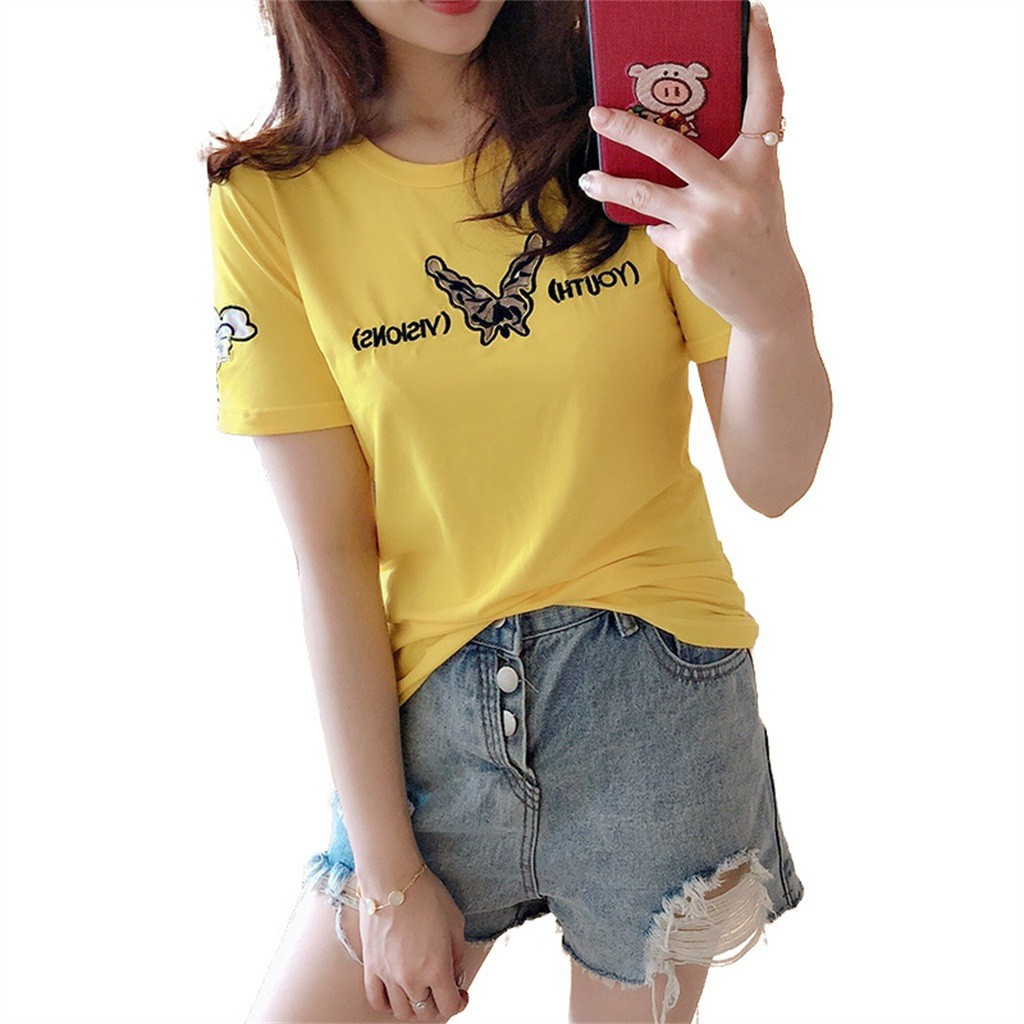 2019 New Summer Female Short-sleeved Hollow Strapless Embroidery Bottoming Shirt
