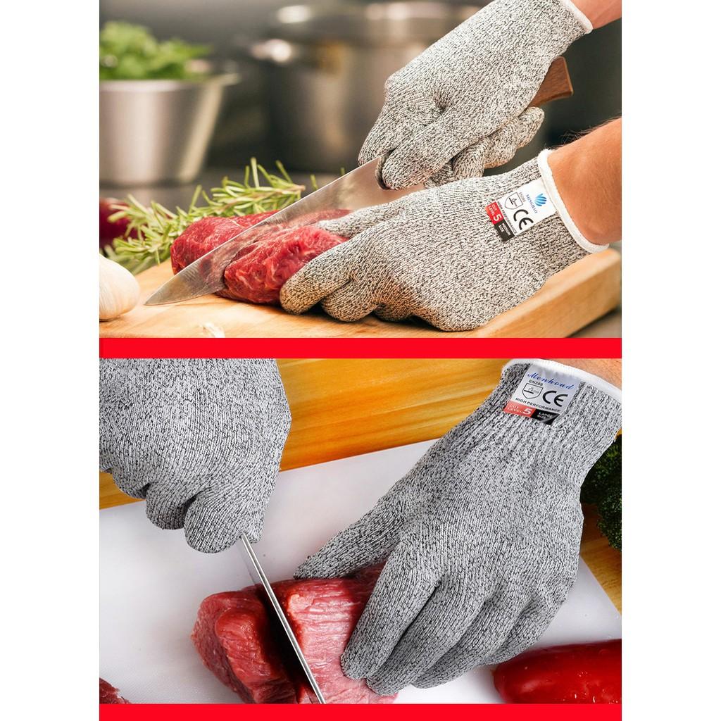 Găng tay chống dao chống cắt tay màu xám đủ size