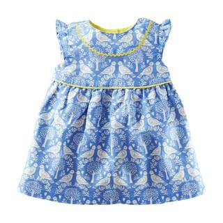 Mã S0713 váy hè không tay, váy bé gái sát nách họa tiết chim xanh của Little Maven