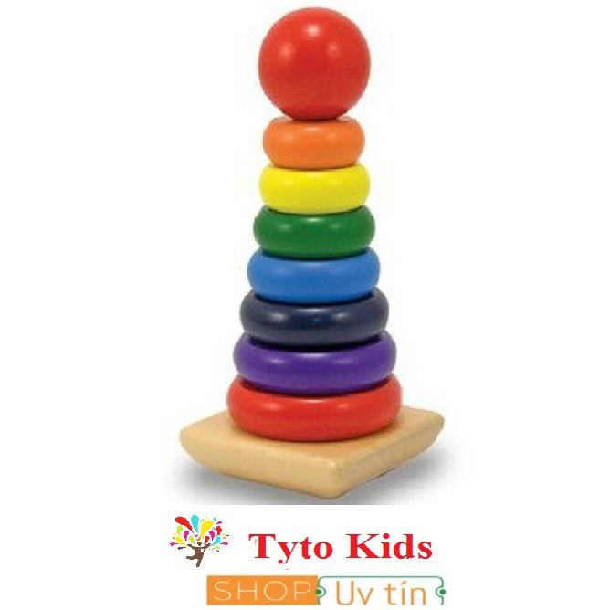 Tháp cầu vồng lớn gỗ - ghép hình thông minh - Đồ chơi giáo dục gỗ an toàn