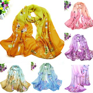 Stylish Women Long Soft Chiffon Floral Scarf Wrap Shawl Scarve