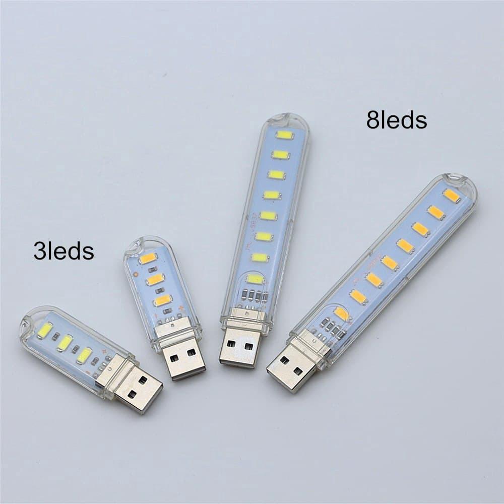 Thanh đèn LED mini gồm 3/8 bóng thiết kế cổng cắm USB thích hợp để bàn học