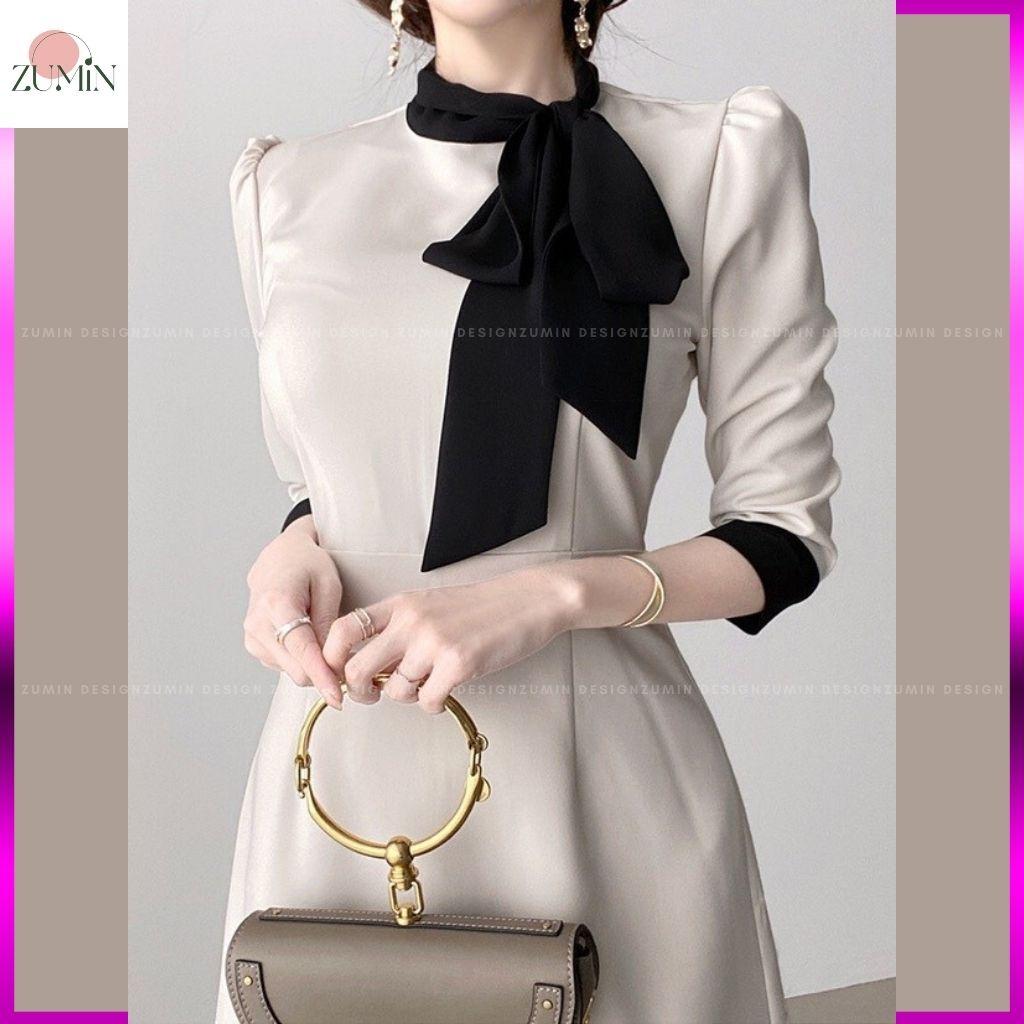 Mặc gì đẹp: Sang trọng với Đầm thiết kế cao cấp 💙 Đầm công sở Hàn Quốc vải chéo công sở thanh lịch