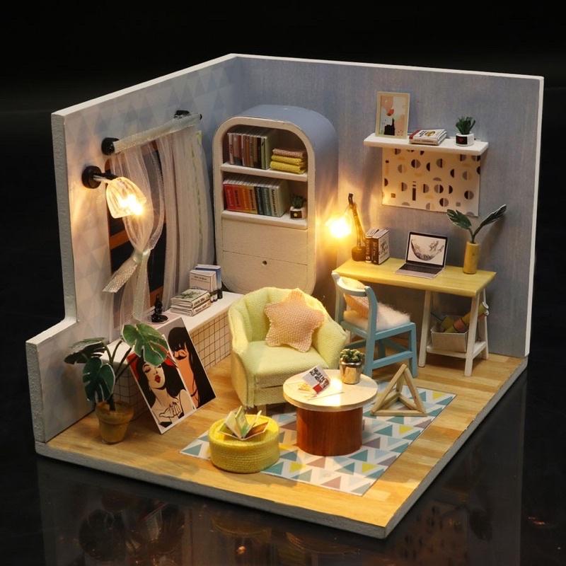 s903 mô hình nhà gỗ diy(có keo,mika,đèn)